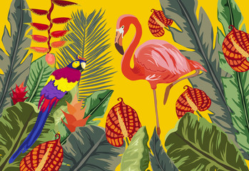 Panel Szklany Do łazienki Summer tropical background. Flamingo bird with palm and banana leaves, monstera and datura flowers
