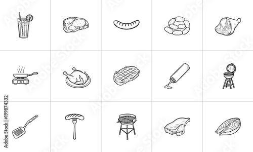 Cuadros en Lienzo Food and drink hand drawn outline doodle icon set for print, web, mobile and infographics