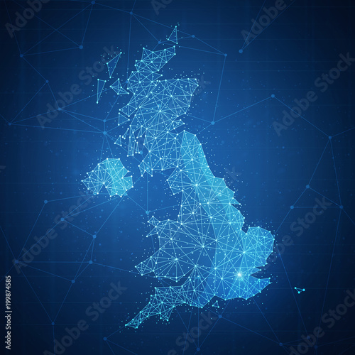 Polygon United kingdom map with blockchain technology peer to peer network on futuristic hud background. Network, e-commerce, bitcoin trade and cryptocurrency blockchain business banner concept. Wall mural