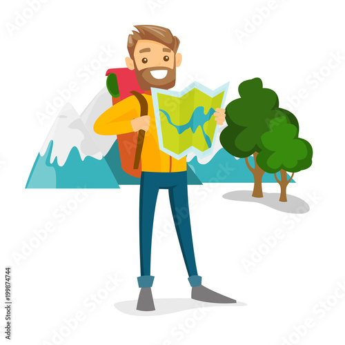 Obraz Young smiling caucasian white traveler with backpack looking at map. Happy backpacker searching right direction on a map. Vector cartoon illustration isolated on white background. Square layout. - fototapety do salonu