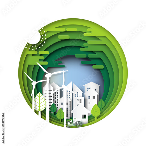 Green eco friendly city and urban forest nature landscape
