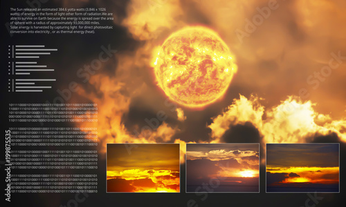 Graphic data about power of the sun background.Dramatic atmosphere panorama view of sun sky and clouds on super summer day.Image of the sun furnished by NASA.
