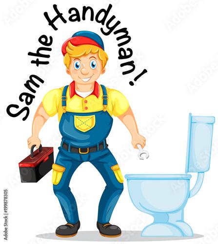 Photo  Sam the handyman fixing the toilet