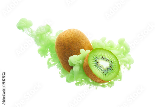 Kiwi fruit on ink isolated over white background