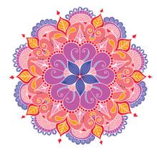 Decorative Floral Colored Mandala