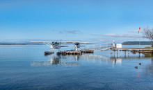 Tow Seaplanes Berthing On Lake Taupo, New Zealand
