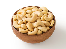 Cashew Nut In Wooden Bowl