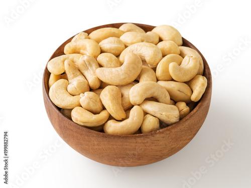Cashew nut in wooden bowl