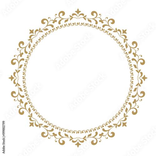 Fototapeta Decorative Frame Elegant Vector Element For Design In Eastern Style Place For Text Golden Outline Floral Border Lace Illustration For
