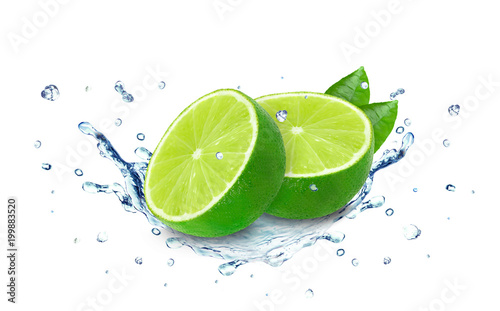 Keuken foto achterwand Opspattend water lime water splash isolated on white
