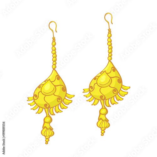 golden and gemstone earrings isolated illustration on white background Wallpaper Mural