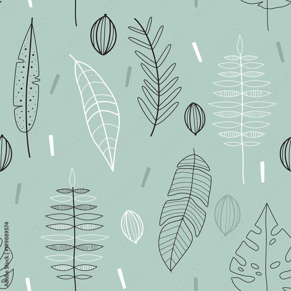 Floral seamless vector pattern. Scandinavian background. Cute plants