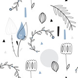 Floral seamless vector pattern. Scandinavian background. Cute plants, white background - 199889527
