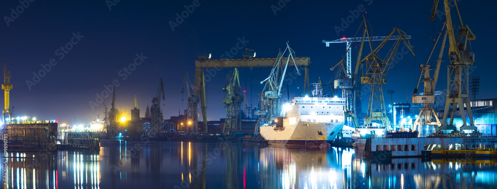 Fototapety, obrazy: industrial areas of the shipyard in Szczecin in Poland,high resolution panorama