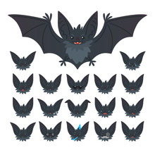 Hallowen Character Emoticon Set. Vector Illustration Of Cute Flying Grey Bat Vampire And It S Bat-eared Snout With Different Emotions In Flat Style. Emoticon Collection For Design, Print, Decoration.