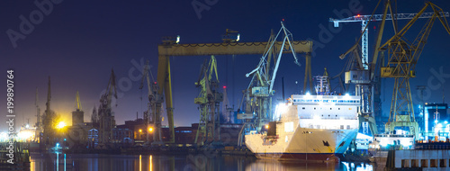 industrial areas of the shipyard in Szczecin in Poland,high resolution panorama Fototapeta