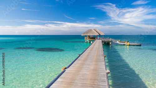 Fotografie, Obraz  Tropical pier and wooden pathway on summer beach scene