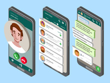 Mockup Of Phone With Mobile Messenger On Screen.