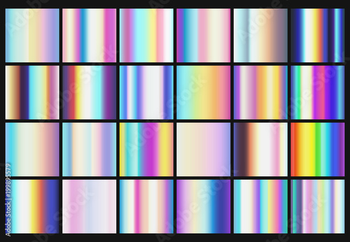 Obraz Rainbow metallic gradients with holographic colors vector templates - fototapety do salonu