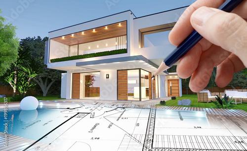 Esquisse d\'architecte d\'une maison moderne – kaufen Sie ...
