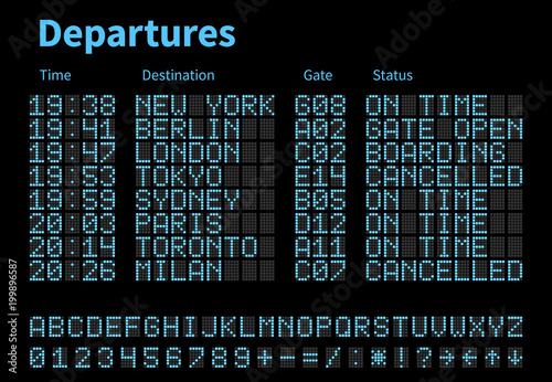 Photo Departures and arrivals airport digital board vector template