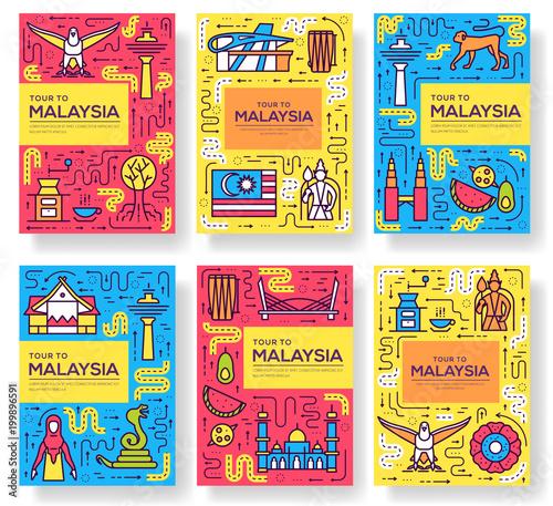 Fotografía  Country Malaysia travel vector brochure cards thin line