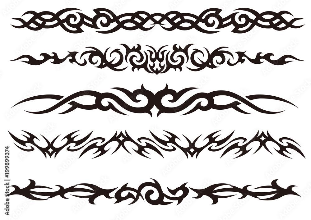 Fototapeta Tattoo tribal vector design art set.