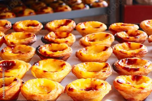 Fotografie, Obraz  Rows of egg tart, traditional portuguese dessert, pastel de nata, custard tarts