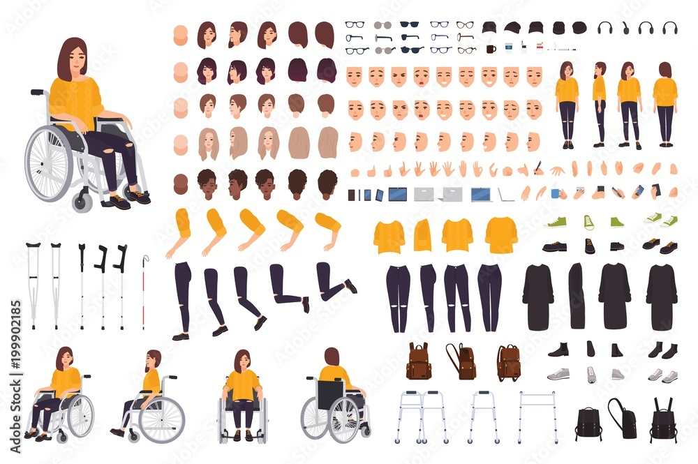 Fototapety, obrazy: Young disabled woman in wheelchair constructor or DIY kit. Set of body parts, facial expressions, crutches, walking frame. Female cartoon character. Front, side, back views. Vector illustration.