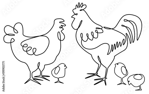 Foto Cock, hen and chickens one line drawing design