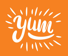 Yum. Yummy Word. Vector Letter...