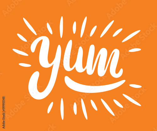 Fototapeta Yum. Yummy word. Vector lettering. vector illustration obraz