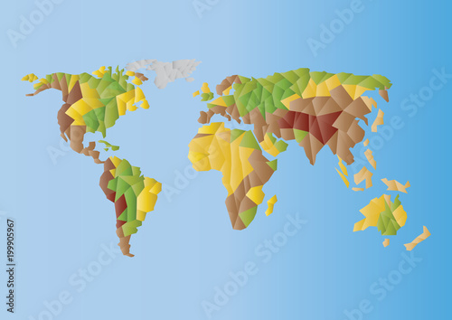 Color vector world map illustration continents silhouettes of bight color vector world map illustration continents silhouettes of bight gradient low polygonsrope gumiabroncs Images