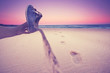 Sand im Schuh am Strand