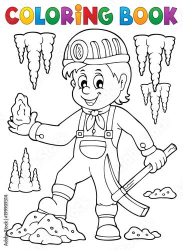 For Kids Coloring book miner theme image 1