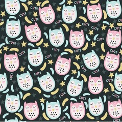 Tapeta Funny vector seamless pattern with cartoon owls and the inscription