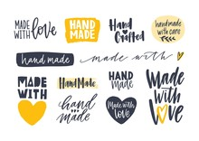 Collection Of Hand Made Inscriptions For Labels Or Tags For Handcrafted Goods. Set Of Elegant Lettering Handwritten With Various Calligraphic Fonts Isolated On White Background. Vector Illustration.
