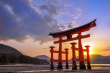 Great Torii Of Miyajima At Sun...