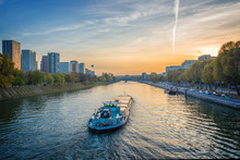 Barge On The River Seine At Su...