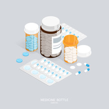 Isometric Medicine Pills Bottle