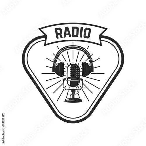 Radio Emblem Template With Retro Microphone Design Element For
