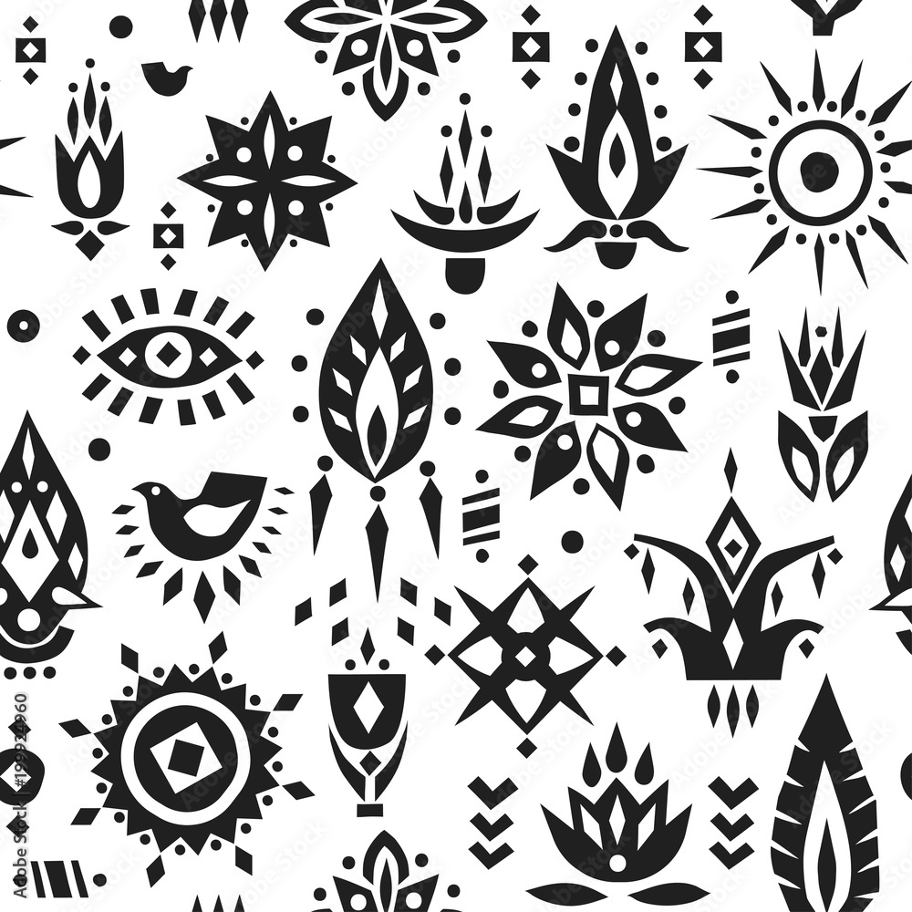 Vector seamless pattern of stylized black african flowers on a white background.