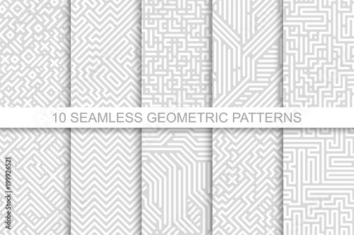Collection of seamless geometric patterns - gray striped design. Vector digital backgrounds
