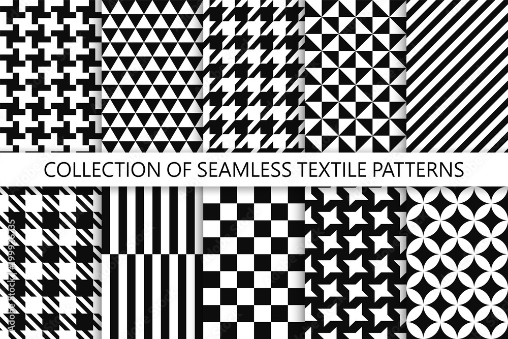 Fototapeta Collection of seamless textile patterns - black and white design. Vector geometric backgrounds