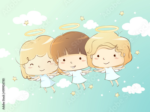 Kids Angels Flying Illustration Wallpaper Mural