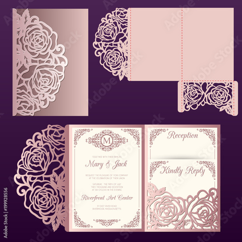 Fototapeta Die Laser Cut Wedding Card Vector Template With Roses Pattern Tri Fold Pocket Envelope Wedding Lace Invitation Mockup