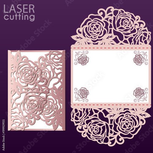 Vector die laser cut envelope template with rose flower. Wedding ...
