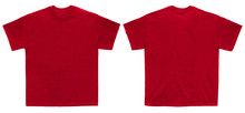 Blank T Shirt Color Red Template Front And Back View On White Background