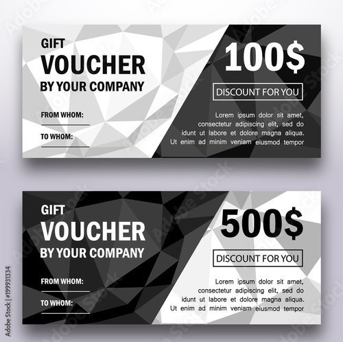 Template Of Gift Voucher With Triangle Geometric Patterns Modern