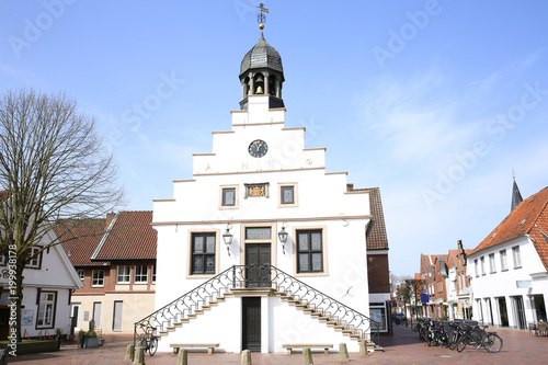 Staande foto Artistiek mon. The historic City Hall of Lingen (Ems) in Emsland, Lower Saxony, Germany